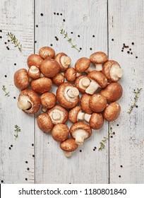 Heart shape mushrooms