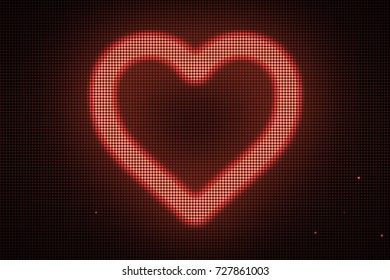 Heart shape on digital screen. Different colors and shapes in my profile.