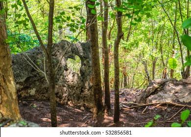 Heart shape on rock, Thailand.