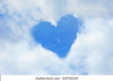 Heart shape on sky and cloud