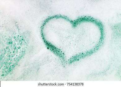 Heart shape on soap foam