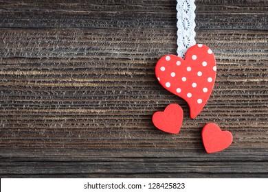 heart shape on wooden background