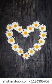 Heart shape of oxeye daisies on dark distressed wood background
