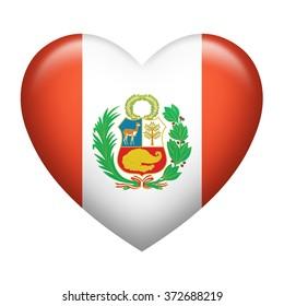 Heart shape of Peru flag isolated on white