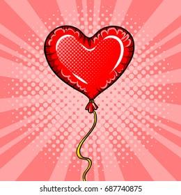 Heart shape red balloon pop art retro raster illustration. Comic book style imitation. Love symbol.