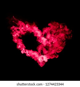 heart shape from red smoke isolated on black background
