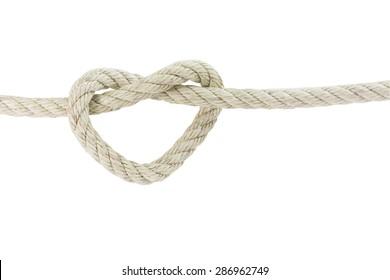 heart shape of rope isolated on white background