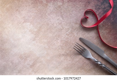 Heart shape satin ribbon with fork and knife and space for text