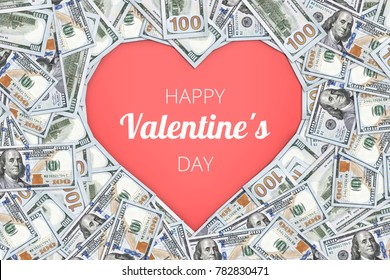 Heart shape sign with 100 dollar banknotes. Valentine concept background. happy Valentine's day the inscription on blank pink background heart. cash gift for a loved one. holiday 14 February