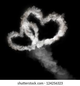 heart shape smoke isolated on black background
