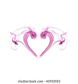 heart shape from smoke on an isolated white background