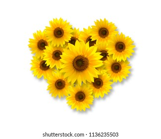 Heart shape with sunflowers, isolated on white background, top view.