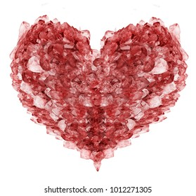 heart shape symbol from red ruby crystals isolated on white background
