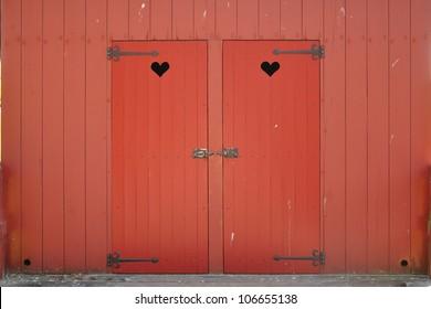 Heart shape in two wooden doors