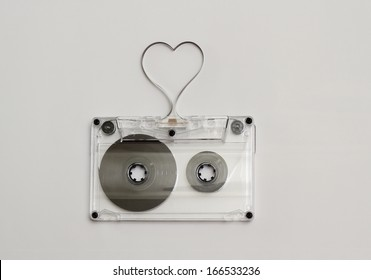 Heart shaped audio tape, concept for love music