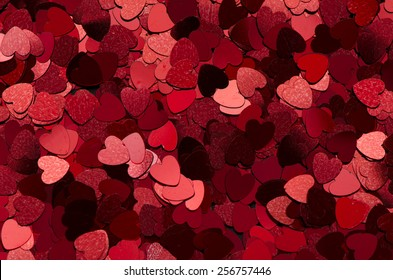 Heart shaped background / Sparkling hearts / Valentine, festive and holiday background
