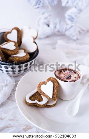 Heart Shaped Biscuits Decorated Christmas Breakfast Stock Photo
