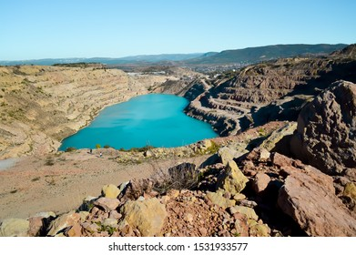 heart shaped blue quarry lake. Kadykovsky quarry, Balaklava, Crimea. Travel, attractions.One of the lowest points of Crimea is in Sevastopol, at the altitude of 14 meters below sea level.