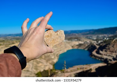 heart shaped blue quarry lake. A stone in the shape of a heart. Kadykovsky quarry, Balaklava, Crimea. Travel, attractions.One of the lowest points of Crimea is in Sevastopol