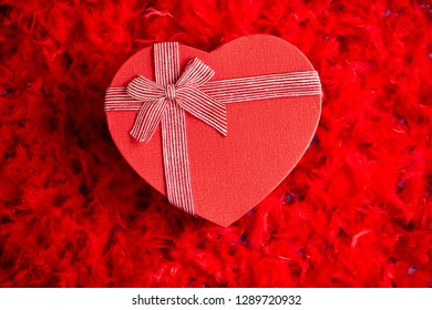 Heart shaped boxed gift, placed on red feathers background. Valentines day or Romantic date concept. Top view shot. With copy space