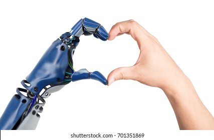 Heart shaped by human and robot hands. Isolated on white background. 3D illustration.