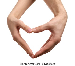 Heart shaped by male and female hands isolated on white
