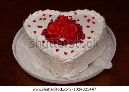 Heart Shaped Cake Decorated Red Flowers Stock Photo Edit Now