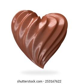 heart shaped chocolate cream, isolated on white background