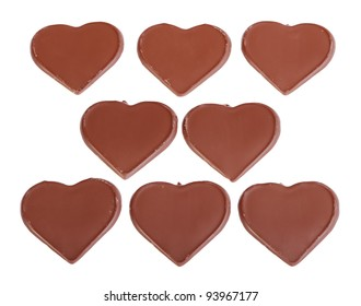 Heart shaped chocolate isolated on white