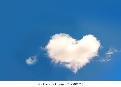 Heart shaped cloud in blue sky