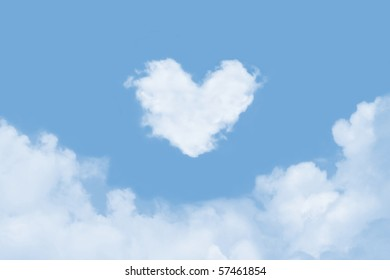 Heart shaped cloud in the sky
