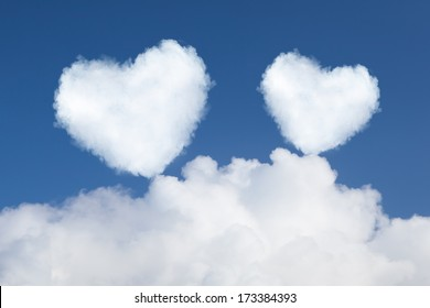 heart shaped clouds in the sky