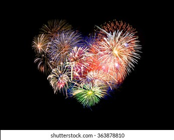 Heart shaped colorful fireworks