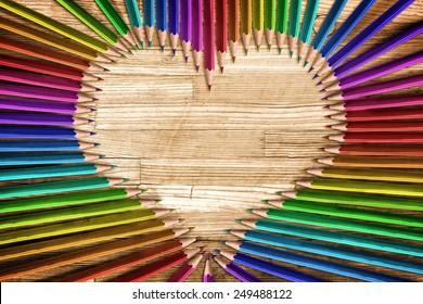 Heart shaped coloured pencils