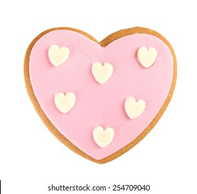 Heart shaped cookie for valentines day isolated on white