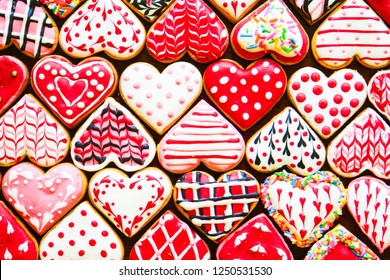 Heart shaped cookies icing for Valentine's day delicious homemade natural pastry, baking with love for Valentine's day, love concept