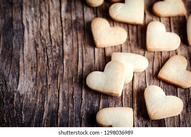 Heart shaped cookies for valentine's day, copy space