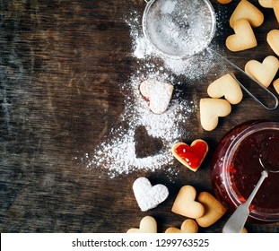 Heart shaped cookies for valentine's day, top view, copy space
