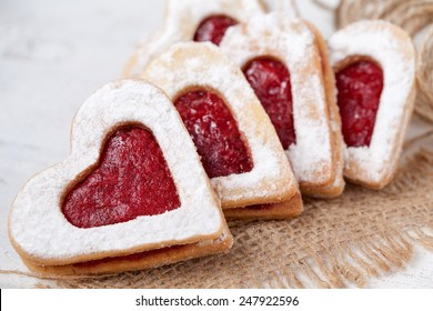 Heart shaped cookies for valentine's day on textile