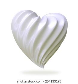 heart shaped cream, isolated on white background