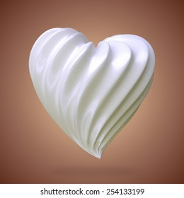 heart shaped cream, on a gradient background