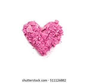heart shaped crushed eyeshadows isolated on white background