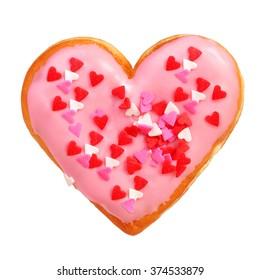 Heart shaped donut isolated