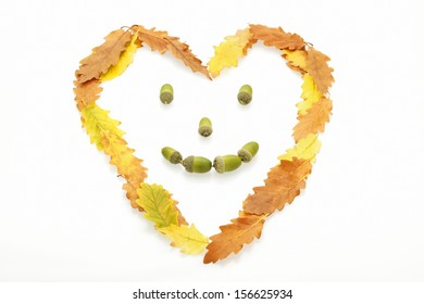 A heart shaped face of yellow, orange and brown oak leaves with acorns for eyes, nose and mouth