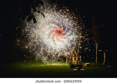 Heart shaped firework at night taken on a wedding celebration