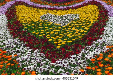 A Heart Shaped Floral Display in the Seoul Forest Park in Seoul, South Korea