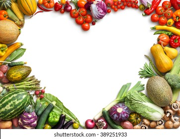 Heart shaped food. Food photography of heart made from different fruits and vegetables isolated white background. Copy space. High resolution product