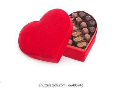 Heart shaped gift box having chocolates, shallow dof, selective focus