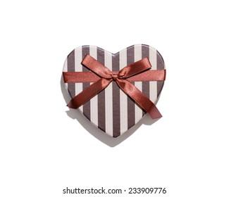 Heart shaped gift box isolated on white background.