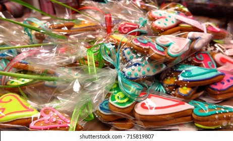 heart shaped gingerbread cookies in cellophane plastic